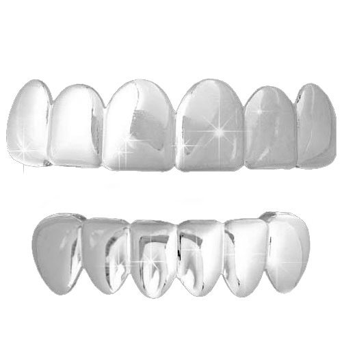 Silver-Tone Hip Hop Removeable Mouth Grillz Set (Top & Bottom) Player Style]()