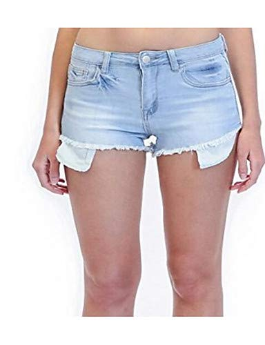 YFLTZ Pantaloni jeans/pantaloncini in cotone da donna - tinta unita Light Blue