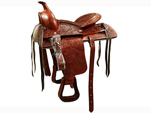 Hand Tooled Saddle (Tahoe Kids Pony Floral Hand Tooled Western Trail Saddle 12