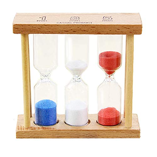 (Stocking Stuffer iPhyhe 1/3/5 Minute Tea Egg Timer Hourglass with Wooden Frame)