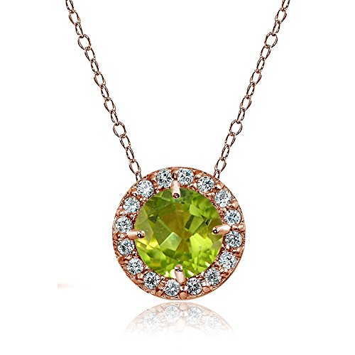 Rose Gold Flashed Sterling Silver Peridot and Cubic Zirconia Accents Round Halo Necklace ()