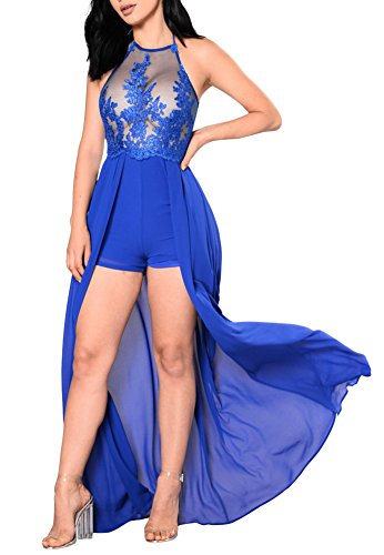 Aro Lora Women's Halter Neck Mesh Embroidery Lace Maxi Dress Overlay Rompers Jumpsuits Medium Blue (Wow Jumpsuits Clothes Dresses)