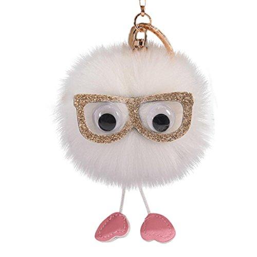 AutumnFall Keychain,Cute Faux Rabbit Fur Ball PomPom Glasses Car Pendant Handbag Key Ring Chain 2017 New (White) (3.90 Ring)