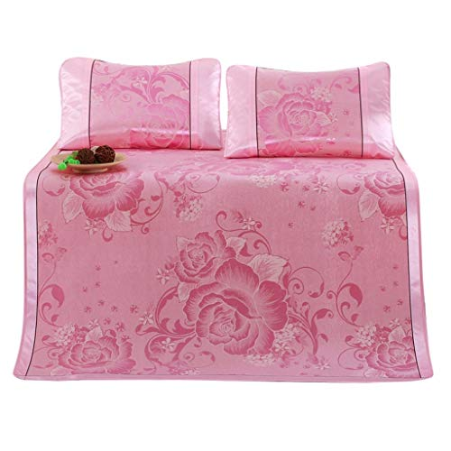 (Fine Folding Non-Slip Peony Silky Cooling Summer Sleeping Mat, Breathable Ice Silk Sleeping Crib Mattress Mat Summer Cool Pad with Pillow Cases Set (Pink))
