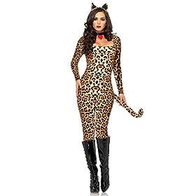 Leg Avenue Womens 3 Piece Sexy Cheetah Warm Catsuit Costume