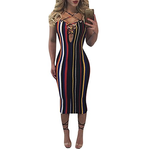 Doris Women's Spaghetti Strap Lace Up Front Bodycon Dress With Rainbow Stripes. La Courroie De Spaghetti Des Femmes Doris Lacer Robe Moulante Avant Avec Rayures Arc En Ciel. Rainbow Arc En Ciel