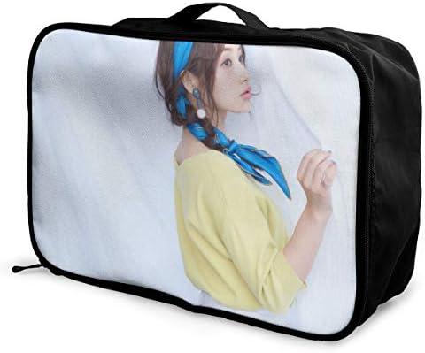 石原さとみ 写真 旅行用トロリーバッグ 軽量 ポータブル荷物バッグ 衣類収納ケース キャリーケース 固定 出張パッキング 大容量 トラベルバッグ ボストンバッグ キャリーオンバッグ 旅行用サブバッグ