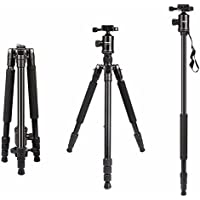 Camera Tripod, HolaFoto 65 Travel Monopod Light Weight Aluminum alloy legs &Panorama Ball head for DSLR Camera Canon Nikon Sony Fuji-Film, Pentax, Lumix, Olympus DSLR DV- T2 Black