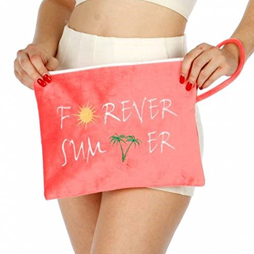 Knitting Factory Water Proof Cotton Towel Forever Summer Wet Bikini Bag (Pink)