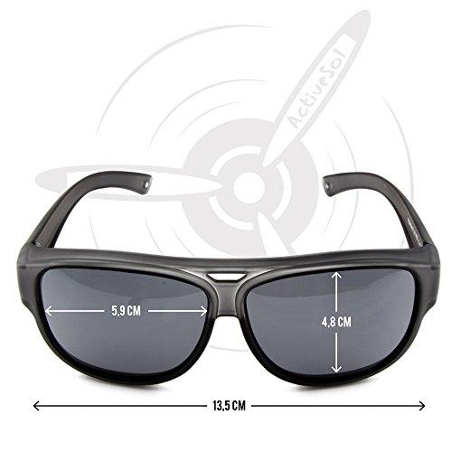 Gafas de DE SOL polarizadas Active Negro UV400 Sobregafas gramos aviador Sol protección 24 de diseño con sol SOBREGAFAS de qvHgEwY