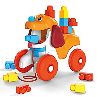 Mega Bloks Pull-Along Puppy Preschool Building Set with Block Pooping, Multi (GNW63)