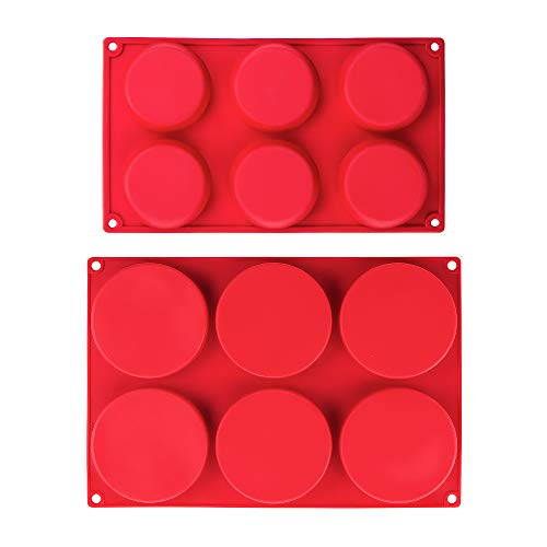 Webake Silicone Molds for 3 Inch and 4 Inch Round Disc Pan for Cake, Muffin Top, Bun, Custard, Tart, Resin Coaster, 6 Cavity, Red Set of 2 (Muffin Top Pan 6)