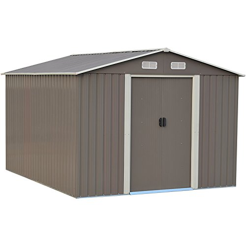 8x8 Ft Outdoor Storage Shed Yard Garden Steel Tool House Grey