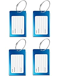 Luggage Tags, LLFSD Metal Suitcase Labels Travel ID Identifier Luggage Tag (Blue 4-Pack)