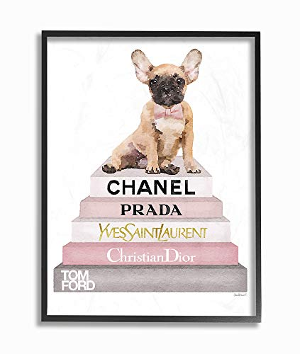 The Stupell Home Décor Collection Watercolor High Fashion Bookstack French Bulldog Framed Giclee Texturized Art, Multi-Color ()