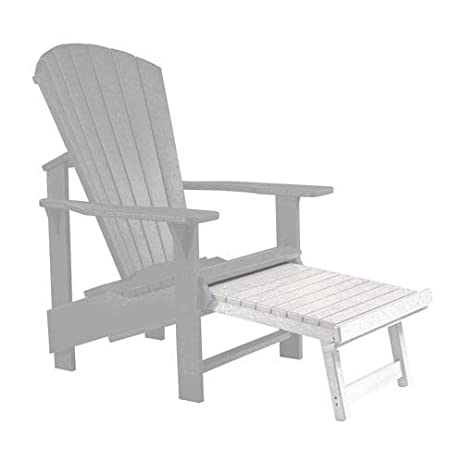 Recycled Plastic Upright Adirondack Chair Pull Out Footstool, White,  32u0026quot;L X 22u0026quot