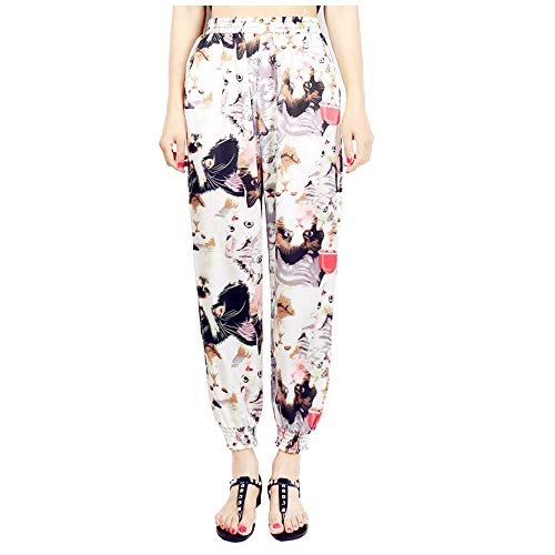 Women Harem Pants☃Foncircle Women Cute Cat Printed with Loose Wide-leg Pants for $<!--$7.99-->