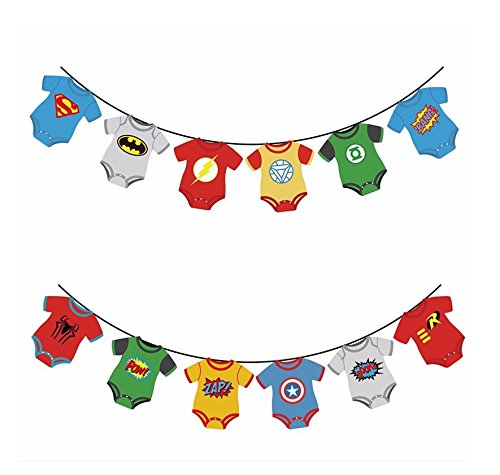 Astra Gourmet Superhero Baby Avengers Party Banner for Baby Shower, First Birthday Party, Nursery Rood Decorations ()