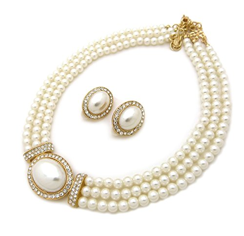 Women's 3 Rows Rhinestone Trimmed Simulated Pearl Statement Necklace, Clip on Earrings Set ()