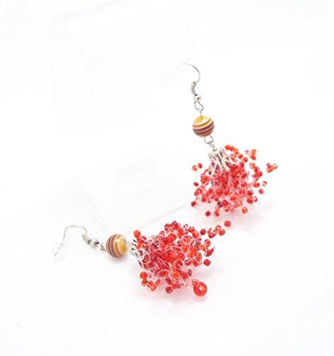 Handmade Jewelry red drop earrings wedding air chandelier summer bridesmaid multistandart seed beads polymer clay Tribal Spike dangle petite everyday