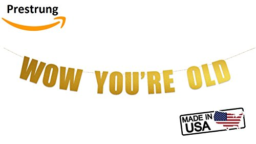 Wow You're Old banner - Rude, Funny, Hilarious Birthday Party Banner Sign (Gold Metallic) Rude Signs