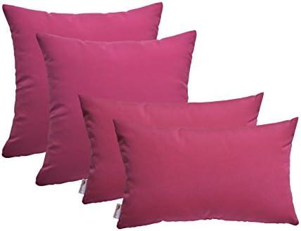 RSH D cor Set of 4 Indoor Outdoor Square Rectangle Throw Pillows Sunbrella Canvas Hot Pink 17 x17 12 x20