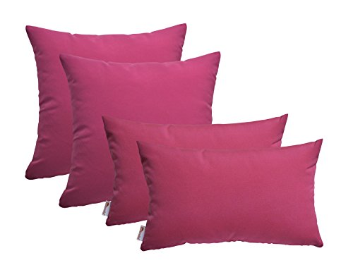 RSH D cor Set of 4 Indoor Outdoor Square Rectangle Throw Pillows Sunbrella Canvas Hot Pink 17 x17 12 x20