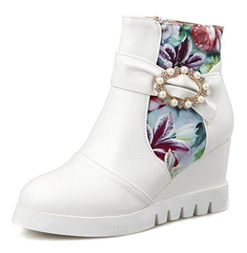 YE Damen Elegant Bequeme Spitze Wedges Kurzschaft Stiefeletten mit Keilabsatz Blumen und Perlen Reißverschluss 7cm Absatz Plateau Ankle Boots Weiß
