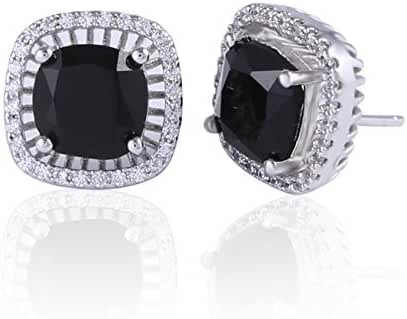GULICX Stylish Ladies White Gold Electroplated Studs Princess Cut Square Earrings Black Zircon
