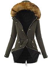Winterjas voor dames, warme winterjas met bont, gemiddelde lengte, donsjas voor vrouwen, dikke winterjas met capuchon van imitatiebont