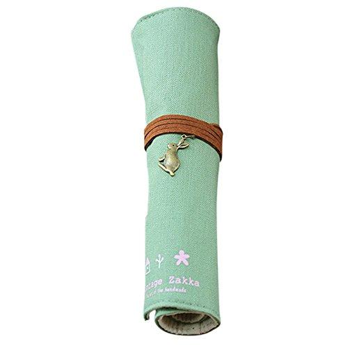 Roll Leinwand Bandage Style Pen Tasche Bleistift Tasche Kosmetik Beutel Storage Bag Make-up Pouch cremefarbenes Aufrollen Grün