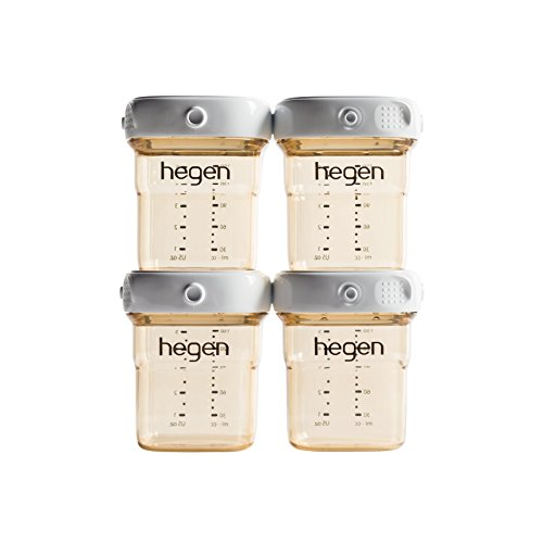 (Hegen Breast Milk Storage (4-pack)- 150ml/5oz PPSU- Connecting Lids for Express Storage- Interchange with Optional Accessories to Convert into Feeding Bottle or Food Container)