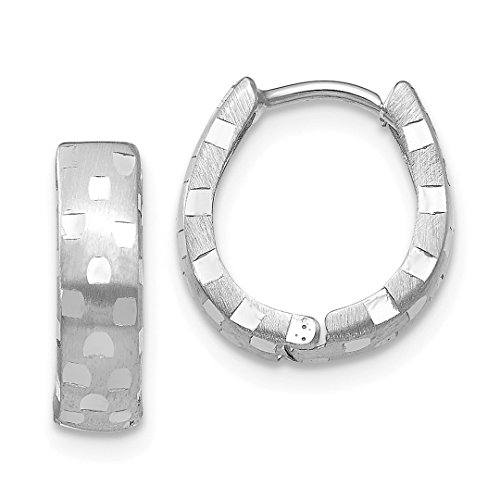 14k White Gold 4mm Patterned Hinged Hoop Earrings Ear Hoops Set Fine Jewelry For Women Gift Set ()