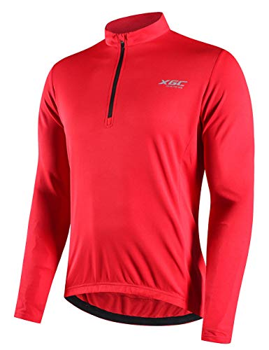 Men's Long Sleeve Cycling Jersey Bike Jerseys Riding Mountain Bicycle Shirt with Quick Dry Breathable Fabric (Red, XL)