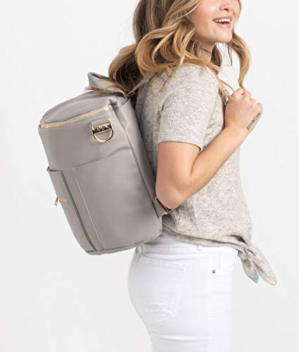 Fawn Design Original Diaper Bag Designed for Women - Backpack for Baby Essentials, Diapers, and Everyday Use - Premium Faux Leather, Interior/Exterior Pockets, Interchangeable Straps - Gray 2019 by Fawn Design (Image #5)