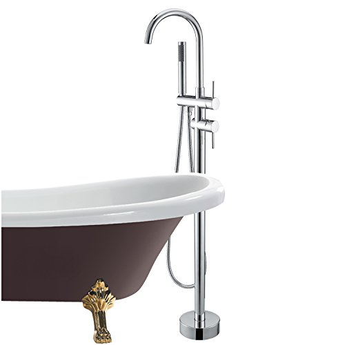 LightInTheBox Bathtub Faucet / Shower Faucet - Contemporary - Floor Standing / Handshower Included - Brass (Chrome) low-cost