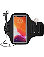 Fniise Water Resistant Cell Phone Armband Case(under 6.9 inches) , for iPhone 11, 11 Pro Max, Xs Max, Xr, 8 Plus, 7 Plus, 6 Plus, Galaxy S10 Plus, S9 Plus, S8 Plus, Notes and More - Adjustable Elastic Band & Key Slot - Suit For Running, Workout, Fitness & Exercise (Black)