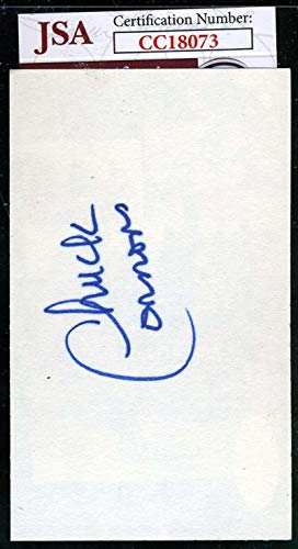 CHUCK CONNORS COA Autograph 3x5 Index Card Hand Signed Authentic JSA Certified MLB Cut Signatures