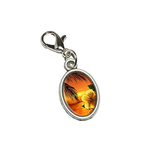Graphics and More Beach Sunset - Hibiscus Flower Palm Tree Ocean Hawaii Antiqued Bracelet Pendant Zipper Pull Oval Charm with Lobster Clasp (Flower Zipper Pull)