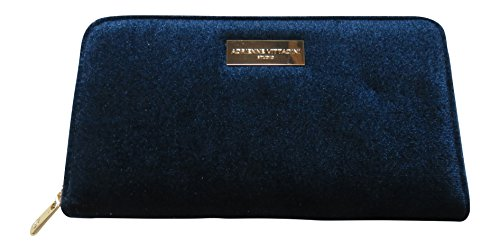 Adrienne Vittadini Women's Zip Around Wallet with Phone Pocket Navy (Velour Zip Around Wallet)