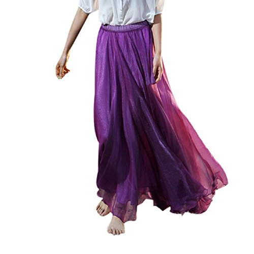 TONSEE Women Full/ankle Length Elastic Pleated Beach Maxi Chiffon Long Skirt (Purple)