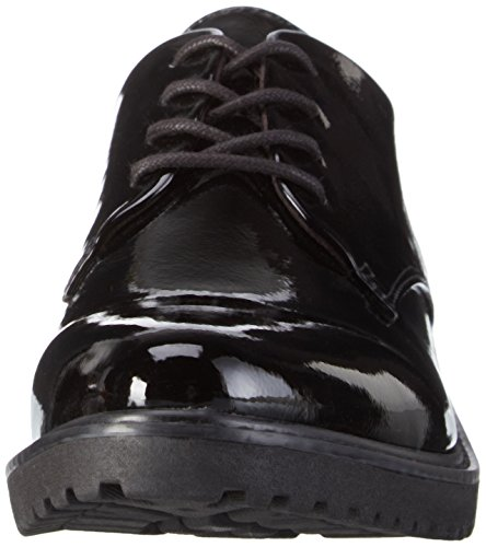 Marco Tozzi 23712, Zapatos de Cordones Derby para Mujer Negro - Schwarz (BLACK PATENT 018)