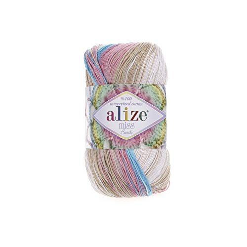 (100% Mercerized Cotton Yarn Alize Miss Batik Thread Crochet Lace Hand Knitting Craft Art Lot of 4skn 200gr Color Gradient 4535)