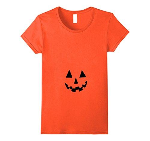 Womens Pregnant Pumpkin Belly T shirt for Halloween Costume Medium Orange
