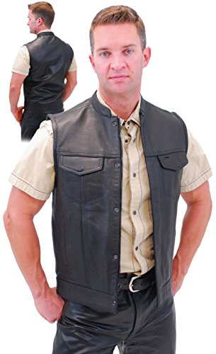 Naked Leather Motorcycle Club Vest w/Gun Pockets & Hidden Zipper (4XL) #VM689NOC