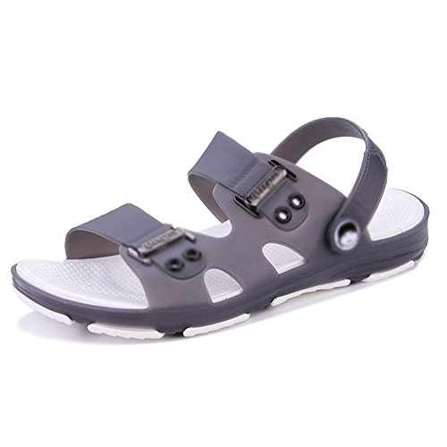 Sandals MAZHONG Summer Youth Non-slip Plastic Beach Shoes Bathroom Anti-skid Shoes (Color : Blue, Size : EU39/UK6.5/CN40) Gray