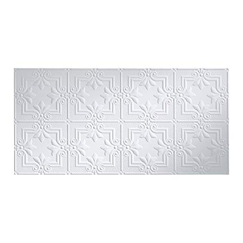 FASÄDE Easy Installation Regalia Matte White Glue Up Ceiling Tile/Ceiling Panel (2' x 4' Tile)