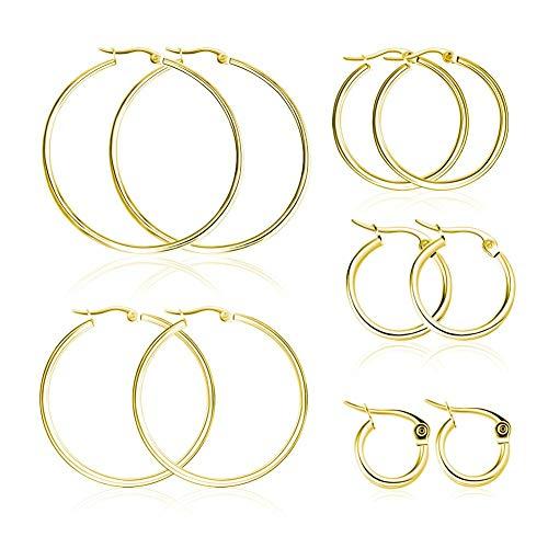 - Miraculous Garden 5 Pairs Stainless Steel Hoop Earrings Set for Women Girls(15mm-50mm) (Gold)