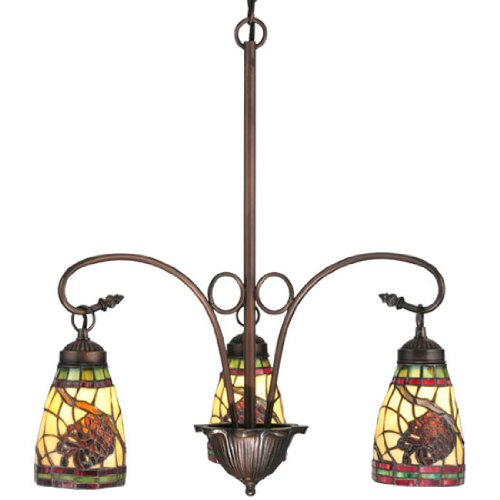 (Lodge Pinecone Dome 3 Light Chandelier)