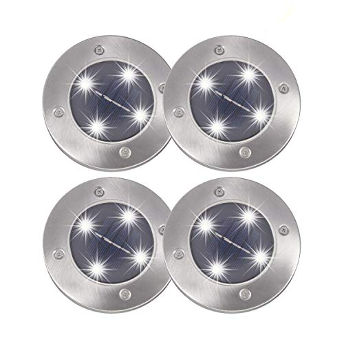 Solar Ground Lights PATHONOR 4 LED 4 Pack White Ray Pathway Landscape Flood Light Outdoor Water Resistant Dark Sensing Auto On/Off Lawn Garden Patio Yard Driveway Walkway Pool Area